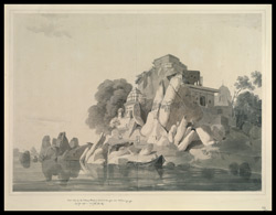 S.W. view of the Fakir's Rock in the River Ganges, near Sultanganj (Bihar). October 1788
